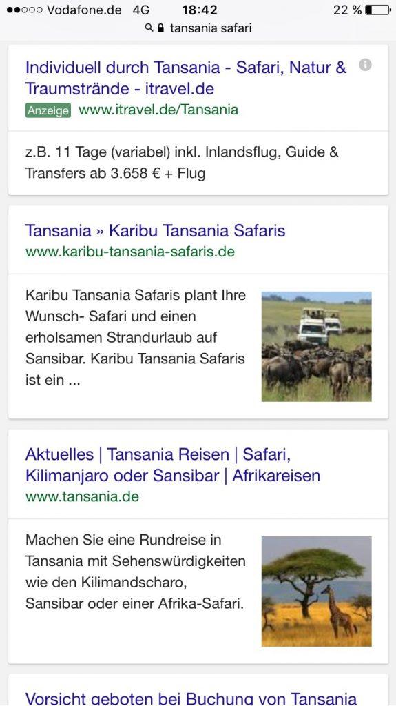 Thumbnails von Google Search zur Suche Tansania Safari