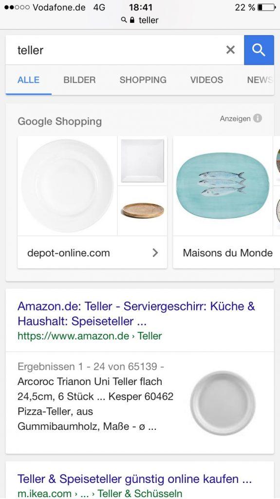 Thumbnail-Anzeige zur Suche Teller