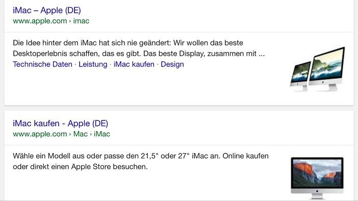 Thumbnails von Google für iMac