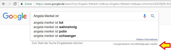 Google ergänzt automatisch in der Suche