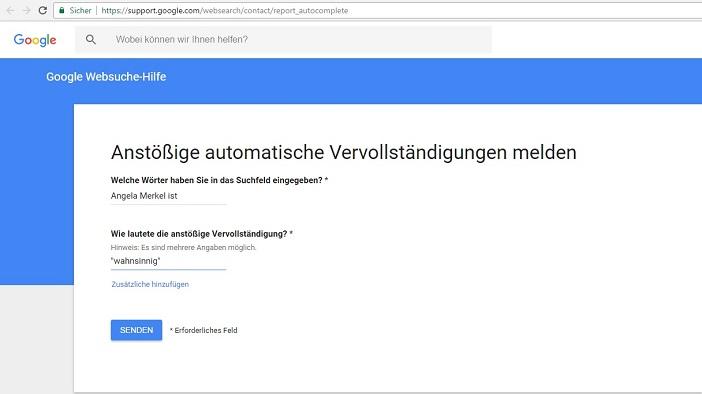 """Automatische Ergänzung in Google Search zu """"Angela Merkel"""""""