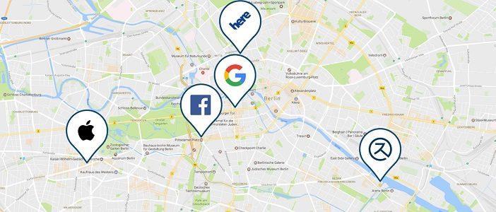 Berliner Karte mit Logos wichtiger Anbieter auf dem Local SEO Markt