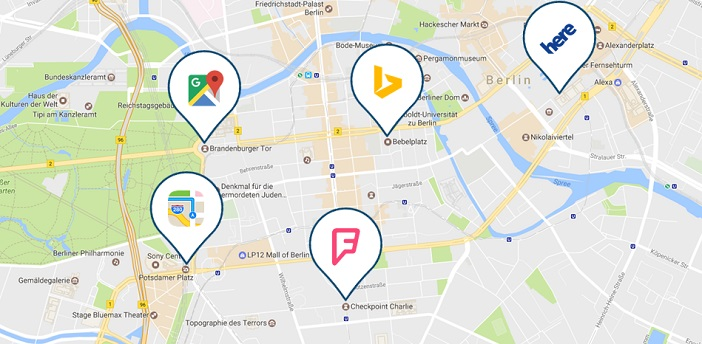 Local Listings, fünf der wichtigsten Anbieter: Google Maps, Apple Maps, Bing Places, here, Foursquare
