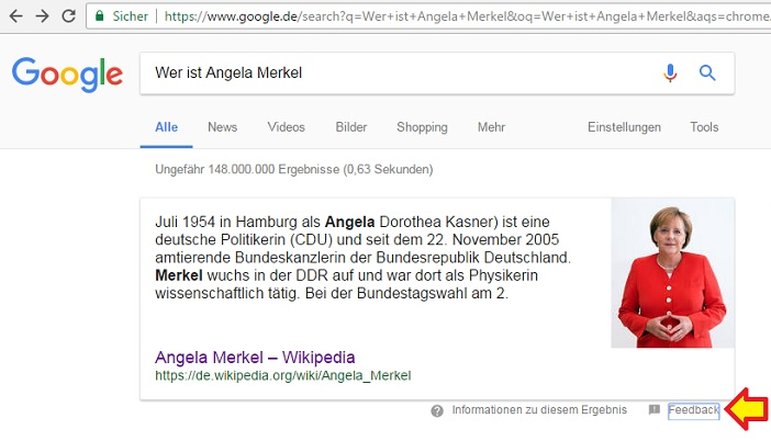 Angela Merkel im Featured Snippet von Google