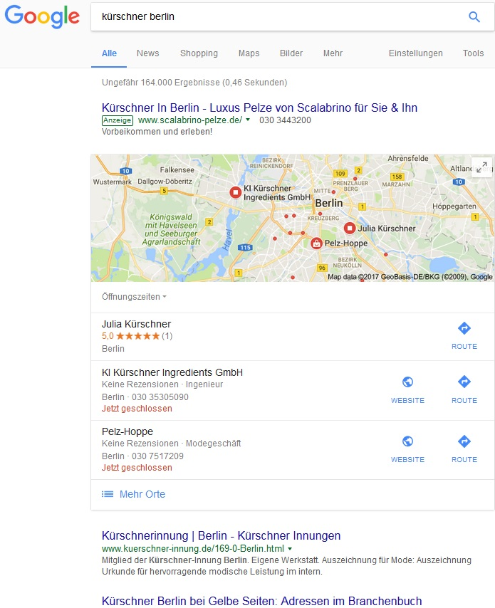 Suchanfrage bei Google Search