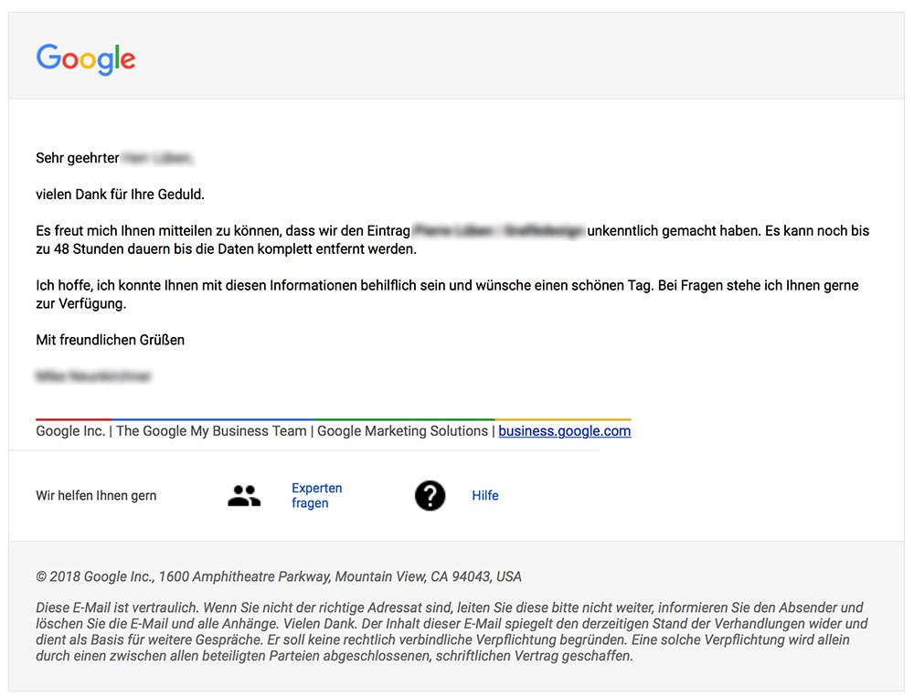 Bestätigungsmail zur Löschung Google My Business Eintrag