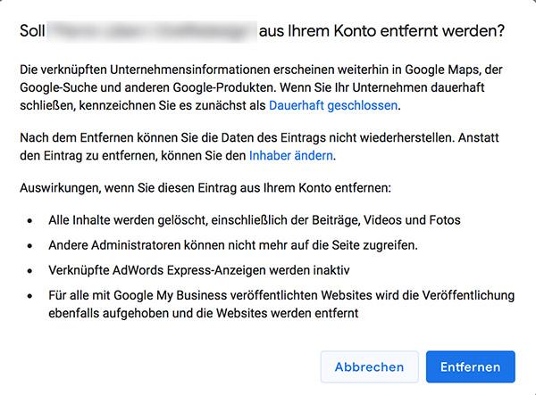 Eintrag aus Google My Business Konto entfernen