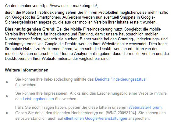 Nachrichtendetails Mobile First-Indexing