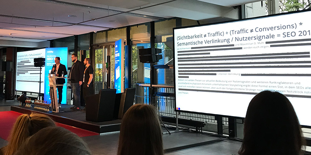SEO-Day, (Sichtbarkeit ≠ Traffic) + (Traffic ≠ Conversions) * Semantische Verlinkung / Nutzersignale = SEO 2019