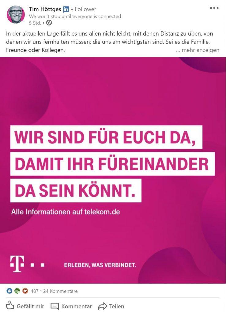 Telekom Werbung in Bezug auf die Corona Krise - LinkedIN.