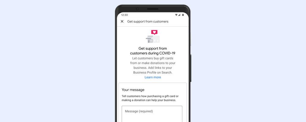 Google My Business Spenden/Geschenkkartenlinks
