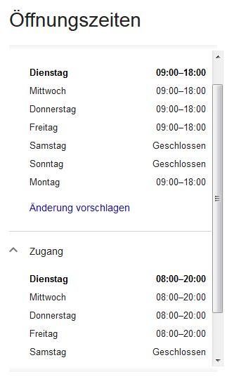 Weitere Öffnungszeiten Google Maps