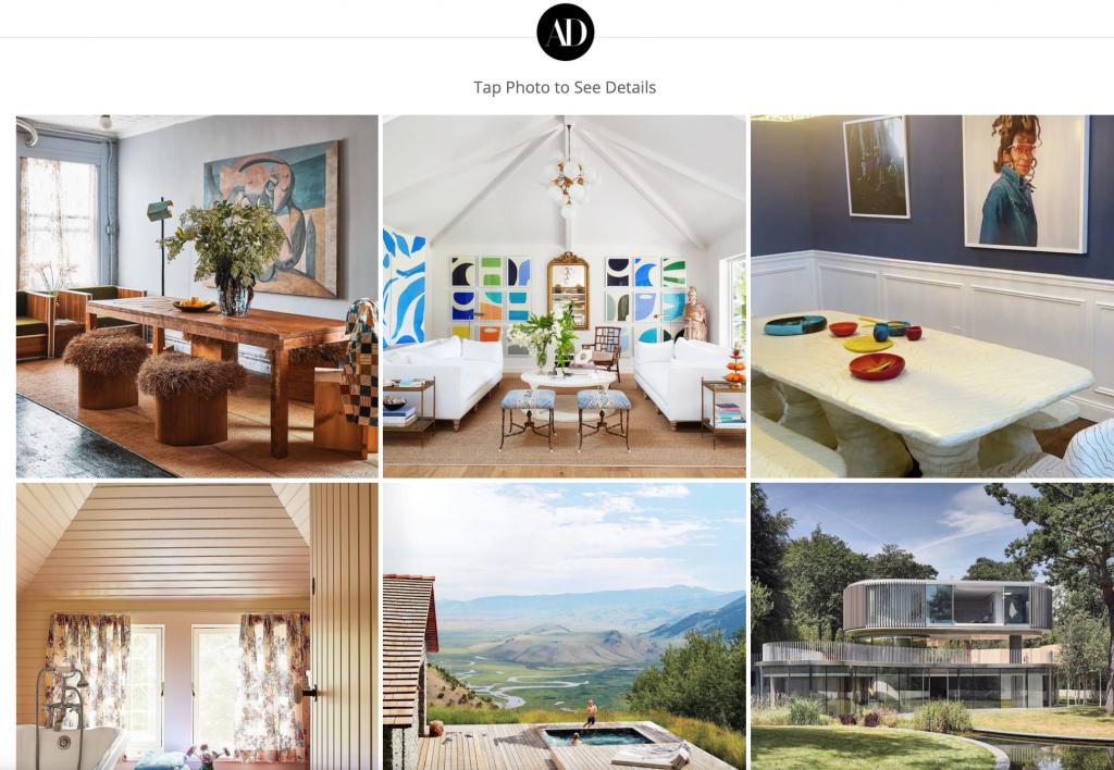 Architectural Digest - Landing Page innerhalb von Instagram