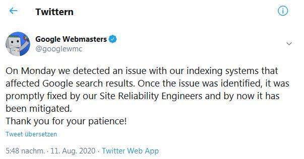 Twittermeldung eines Google Bugs