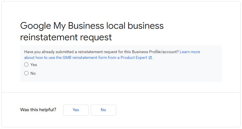 Reinstatement Request GMB